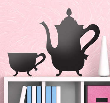 A vintage wall sticker illustrating a very elegant teapot and cup set Fantastic monochrome decal to decorate your kitchen or living room Personalise your home with original and unique design and enjoy the atmosphere that it will give to your kitchen.
