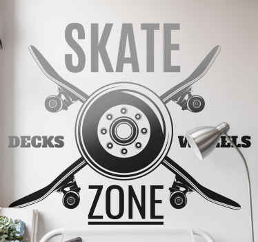 Skate Zone wall vinyl sticker for lovers of skateboarding - This would be great to decorate teenager's bedroom and other spaces.