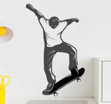 Skateboarder silhouette wall sticker - Show how much you love skating with this design decorated on your space. Easy to apply and durable.