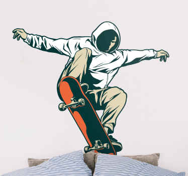 Skateboard jumping wall sticker.  An amazing design for lovers of skating especially for teenagers. The design illustrates a person on skateboard.