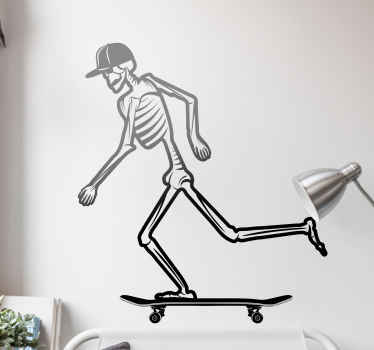 Skateboard Zombie  wall sticker - Funny design illustrating a skeleton rolling on a skateboard.  The colour and size is customizable.