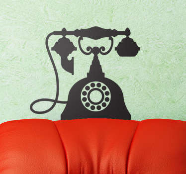 A vintage wall sticker illustrating the silhouette a very old and elegant telephone from the 70s. Great monochrome decal to personalise your home and bring a touch of style to any wall.
