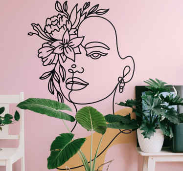 Vinilo de flores con la cara de Frida Kahlo para dormitorio. Puedes elegir las medidas y dimensiones del diseño ¡Envío exprés a domicilio!