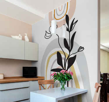 This amazing minimalist leaves in vase sticker would present your space with great appearance It is really simple to stick on wall, furniture, etc.