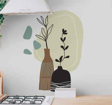 Colored leaves in vase furniture sticker to add a lovely look and attention on space. It is perfect to decorate any space, it application is easy.