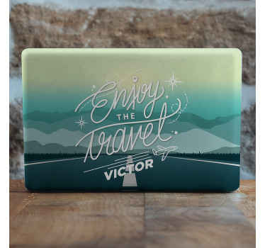 Personalized your name on this decorative travel adventure land scape decal for laptop. It is printed with quality vinyl and has adhesive anility.