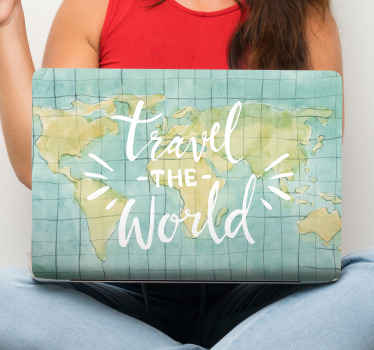 An illustrative design of world map with tag that says 'Travel the world'. A lovely decorative laptop decal from our collection of world map decals.