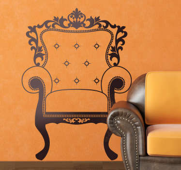 A great vintage wall sticker illustrating a Louis XIV antique armchair. Brilliant monochrome decal to add a touch of originality to your home.
