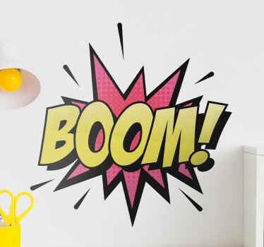 Add a lovely look on your space with this decorative 70's style vintage wall sticker. The design host 'Boom' text on special background.