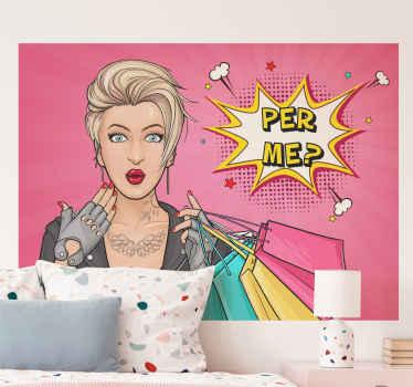 Pop art girl vintage sticker - beau design pour les adolescents ou tous ceux qui aiment décorer leur espace avec une femme sexy avec style.