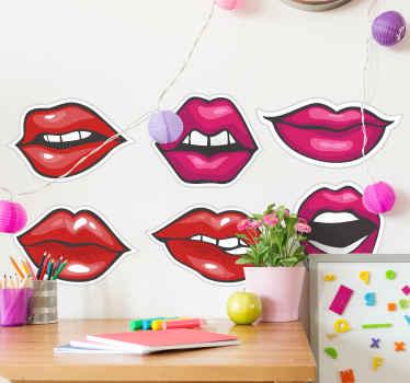 Ensemble de décalcomanie vintage de belles lèvres pop rouges pour votre décoration murale. Un dessin illustrant six lèvres de dames sexy .