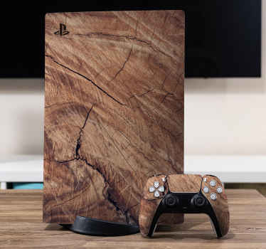 Realistic wood background  PS5 sticker - How lovely your device would turn out with this realistic wood textured design. Made of quality.