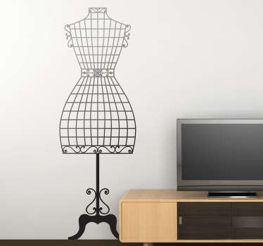 A fashion wall sticker illustrating a couture mannequin to decorate your own store or your home! Great monochrome decal to personalise your favourite space. Enjoy the brilliant atmosphere this high quality vinyl provides. Available in a wide range of colours and various sizes.