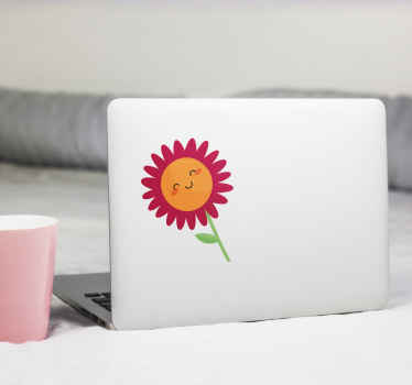 Happy flower smiling laptop skin decal - Cute design to add a lovely look on your device. Available in any size and really easy to apply.