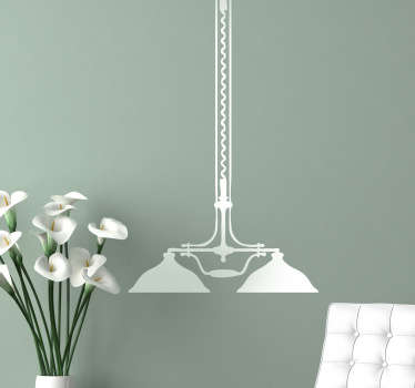 Silhouette sticker of a hanging ceiling lamp with a classic vintage design. Choose your size and colour. Easy to apply and remove.