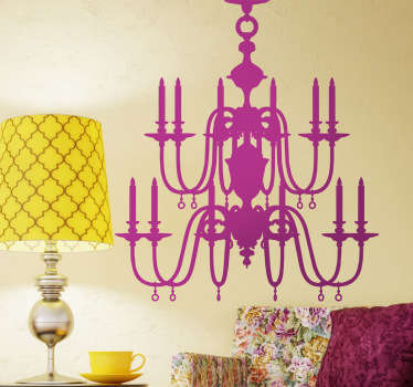 Spectacular sticker with the silhouette of a vintage ceiling lamp with candles.