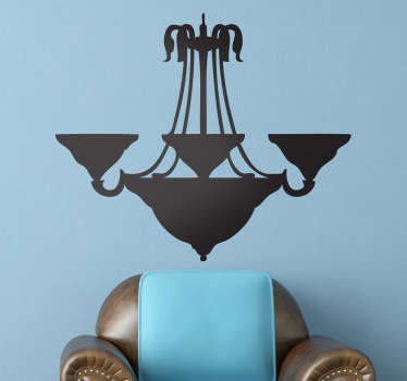 A vintage wall sticker illustrating an old lamp for your walls! An extremely original lamp decal to decorate any space at home.