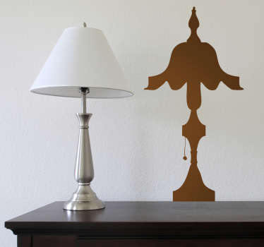 A wall sticker illustrating a classic design of a lamp. A silhouette decal which is appropriate to decorate your home.