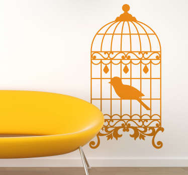 Bird wall stickers - great illustration of a bird cage! Fantastic living room decal that will will add so much decoration to your home.