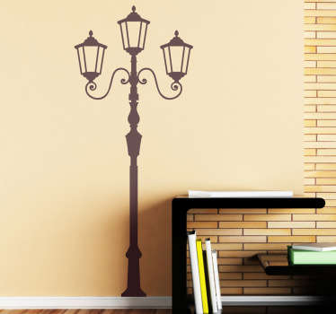 A great vintage wall sticker with an old fashioned street lamp with three lights. A retro decal for those looking for a classic yet elegant wall decoration.