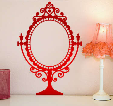 A wall sticker of an old-fashioned large mirror. A beautiful and original idea for wall decoration in your home.