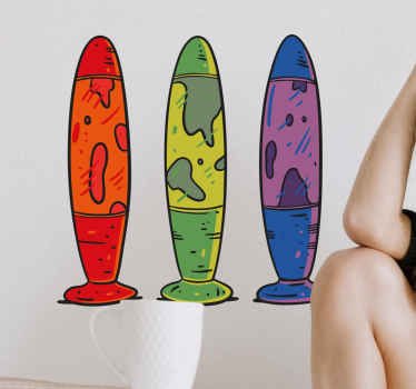 Decorative vintage sticker design illustrating lava lamps in different colours. Perfect to decorate any part of a house, for bedroom and other places.