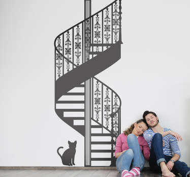 A romantic wall sticker illustrating a staircase with fancy patterns and a small cat. Monochrome decal for those looking for an elegant design.