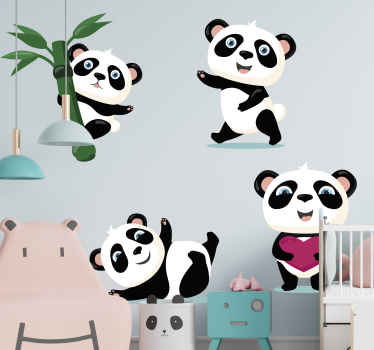 Sets of cute panda sticker illustrated with bamboo tree. You can decorate this on the bedroom, playroom or nursery space of your little one.
