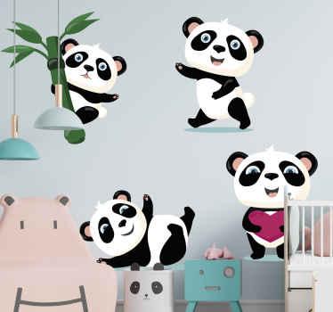 Setjes schattige panda zelfklevende sticker geïllustreerd met bamboeboom. Wacht niet langer en bestel dit fantastische design nu!