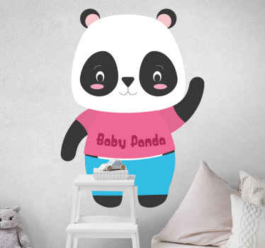 Dressed baby panda with name wild animal decal - An interesting design to please your kid and make him or her happy. Available in different sizes.