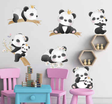 Panda life wild animal decal - A set of different cute pandas animals illustrated differently, some hanging on tree branch and others differently.