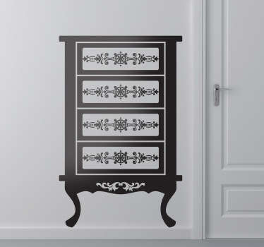 This wall sticker illustrates a classic French cabinet, a magnificent wall decoration for your home.