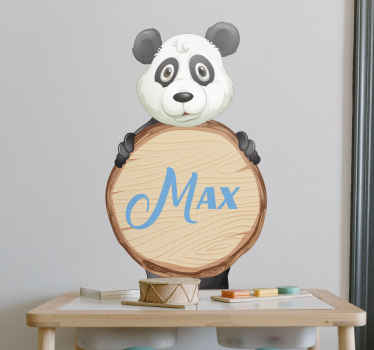 Panda with name door sticker - Lovely design to decorate children bedroom, playroom and nursery space. Easy to apply and remove.