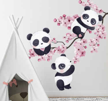 Change the space of your kid with this amazing decorative baby pandas on spring tree wild animal decal and see how the space appear.