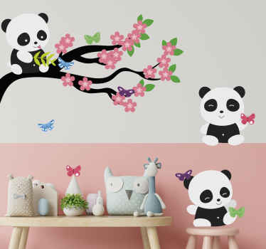 Time to create an amazing space and atmosphere on the room of your little one with our colorful spring tree with panda and butterflies decal.
