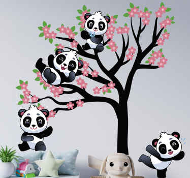 Pandas playing on spring tree wild animal decal - Sets of happy  cute pandas playing on a tree with flowers.  Made of quality vinyl and durable.