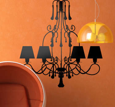 A wall sticker with an elegant silhouette design of a decorative hanging lamp.