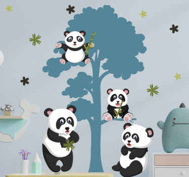 Panda's family life wild animal decal -Every kid would sure love this design on their room wall space, a design illustrating happy pandas on trees.