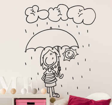 A wall sticker with a fun design of a woman being protected from the rain and clouds under an umbrella.