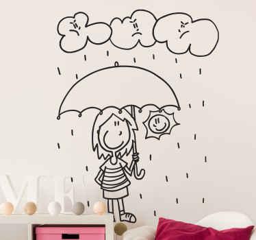 Wallsticker pige med paraply