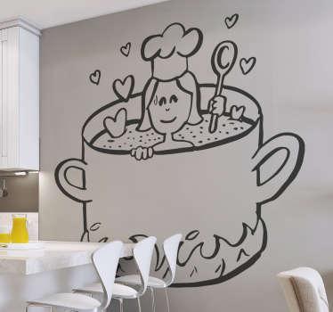 Aşk yemek duvar sticker