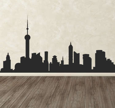 A chic sticker with the silhouette of the skyline of an urban and modern city. Ideal design to decorate your home in a stylish way.