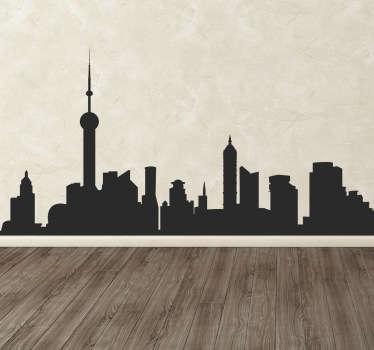 Tyylikäs tarra kaupunkien ja modernin kaupungin taivaanrannan siluetilla. Ihanteellinen muotoilu kodin sisustamiseen tyylikkäästi.
