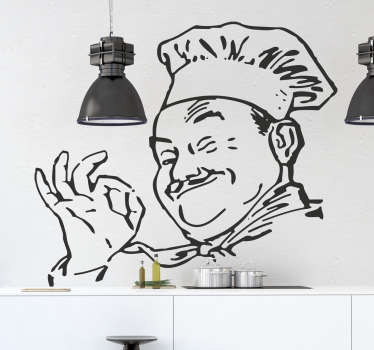 Kitchen Stickers - Drawing of a happy bubbly chef ready to cook. Great for personalising your kitchen walls, cupboards & appliances. This monochrome sticker of a moustached chef smiling and giving the okay sign is sure to set the perfect mood for cooking and eating.