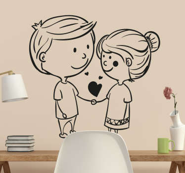 A romantic wall sticker illustrating a couple in love animated with two heart-shaped lollipops.