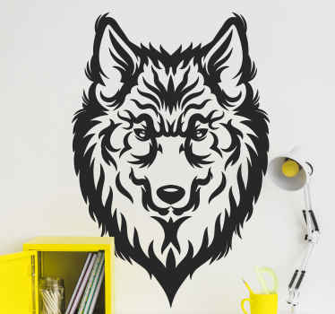 Wolf head shape wild animal decal - A lovely design from our animal collection made in hand drawing art style. It is self adhesive and durable.