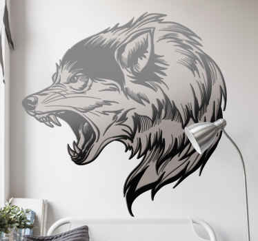 Wolf head elegant shape wild animal decal - Lovely design for animal lovers,  the design is a hand drawn roaring wolf art illustration. Easy to apply.