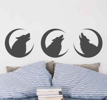Wolf  with moons wild animal decal -  The design simple illustrates three wolfs roaring under the moon. It can be applied on any flat surface.