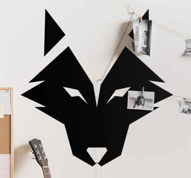 Wolf head minimalist wild animal decal - An artistic style  design of a wild wolf created in origami style, the colour is customizable.