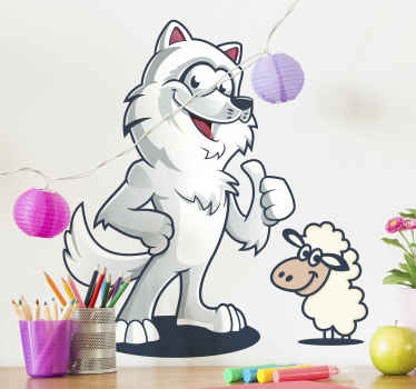 Wolf Hugging a sheep wild animal decal - Create an amazing space for your little one with this funky wolf animal design.